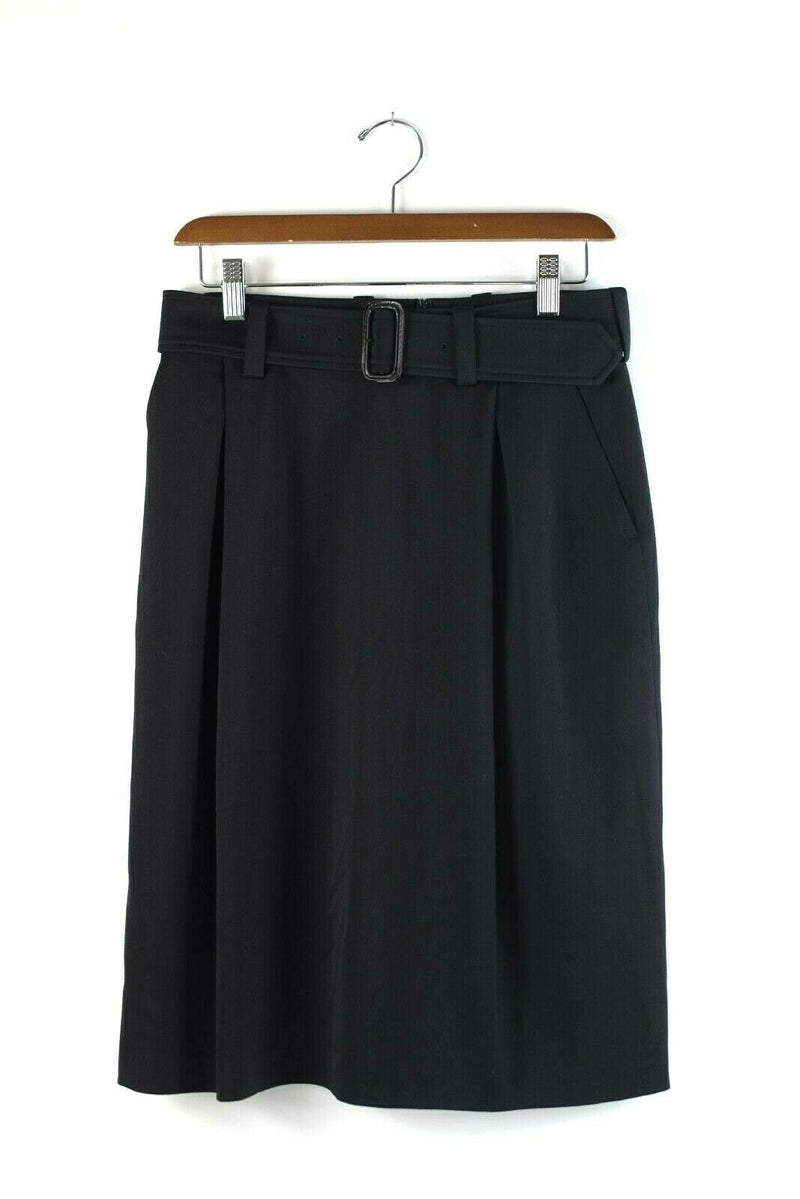 Dries Van Noten Womens 36 Extra Small Black Skirt Pencil Midi Wool Belt Pockets