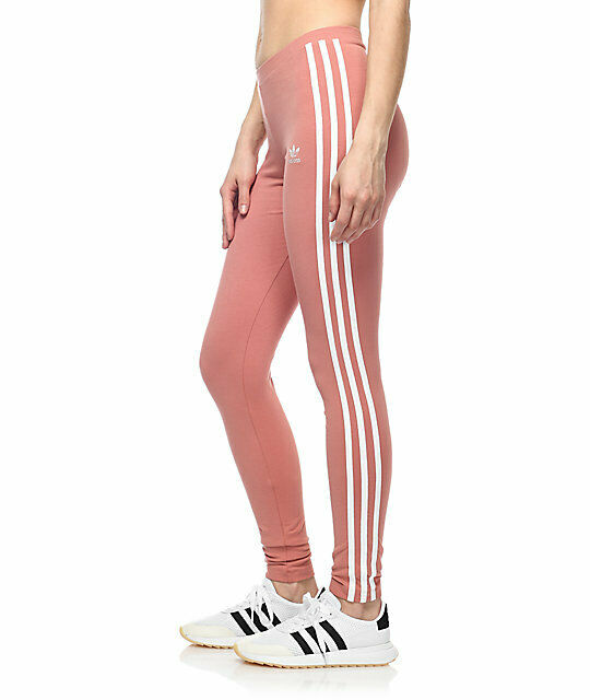 Adidas Originals Womens XS Ash Pink Leggings 3 Stripes Collection Skinny Pants