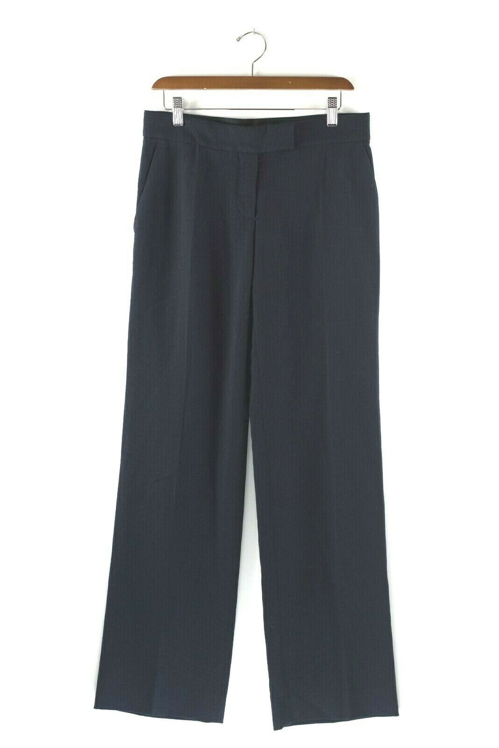 Stella McCartney Womens Size 4 Small Navy Blue Trousers Wool Pants Wide Leg