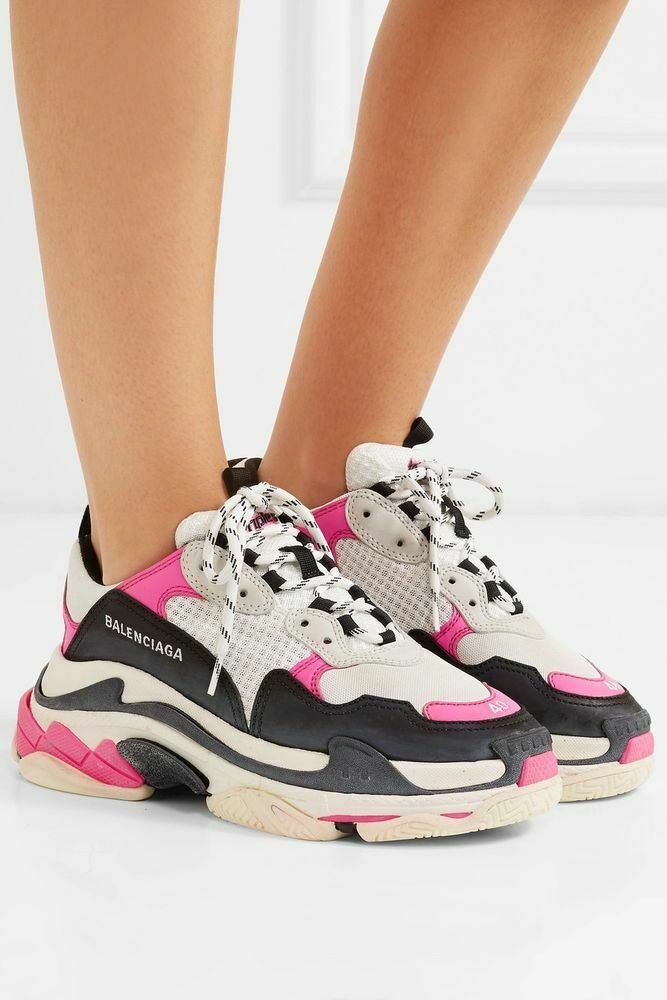 Balenciaga Womens Size US10 40 White Pink Black Triple S Sneakers