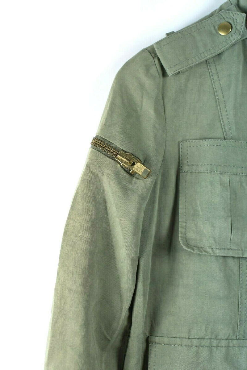 Smythe Womens 4 Small Green Summer Surplus Jacket Army Coat Exposed Zipper $895