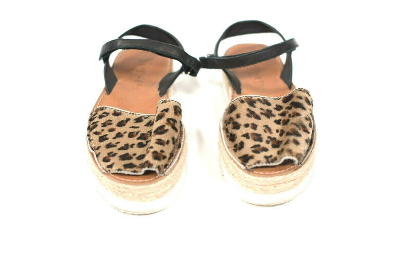 Yerse Womens Size 8 Brown Espadrille Sandals Pony Hair Leopard Platform Shoes