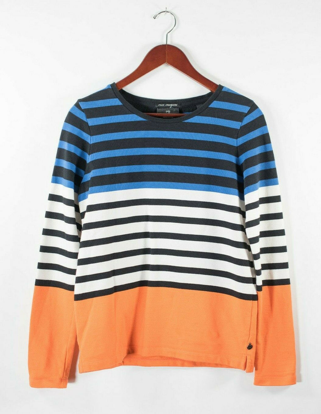 Maison Scotch & Soda Womens Small Blue Orange White Pullover Sweater Striped Top