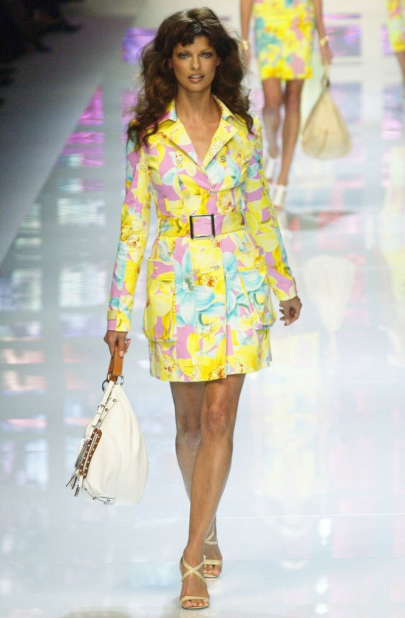 Versace Size 36 Yellow Pink Skirt Suit SS Primavera Estate 04 Runway