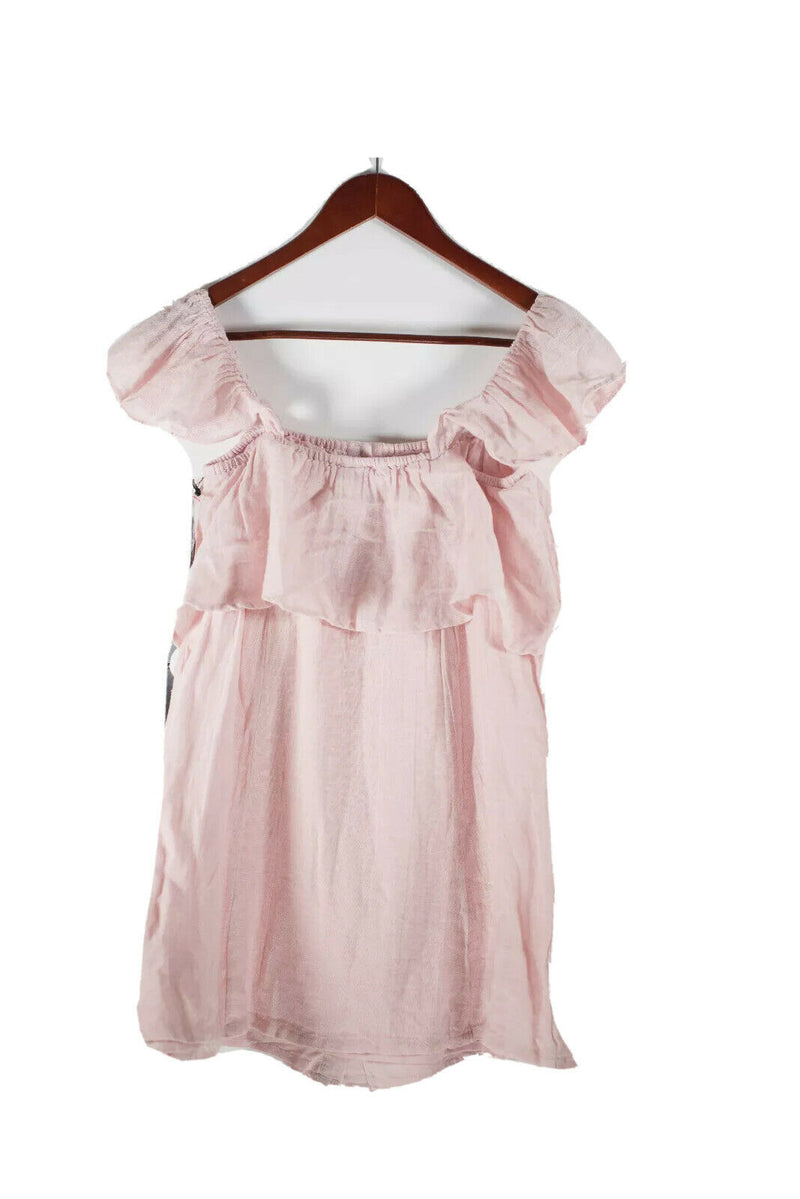 Revolve Privacy Please Womens Small Pink Dress Ruffle Off Shoulder Buttons NWT