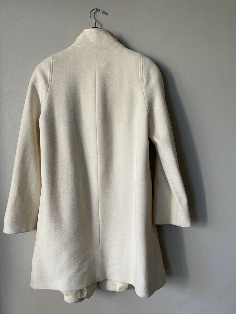 Edward Chapman Womans Size 6 Small Ivory Coat Angora Wool 3 Button Pocket Jacket