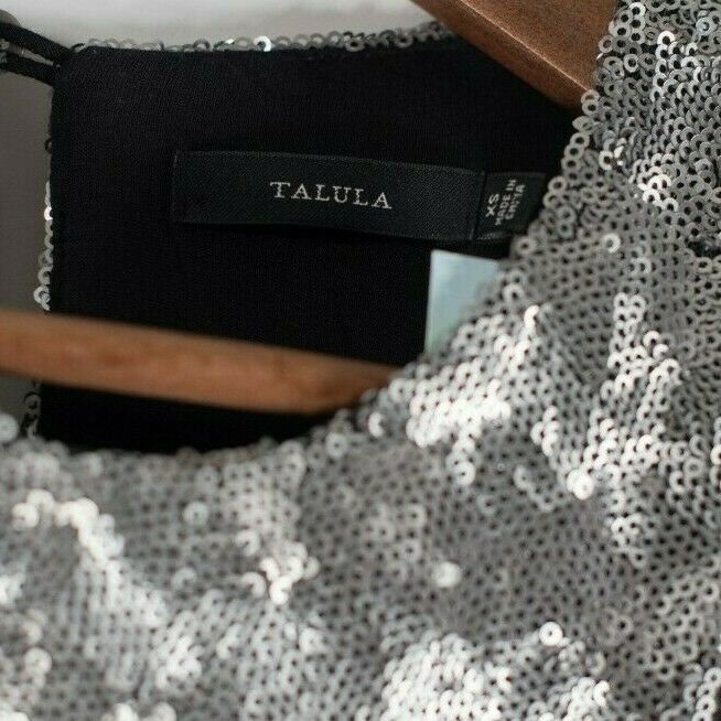 Talula Aritzia Women's Size XS Silver Canterbury Dress Sequin Sleeveless NWT