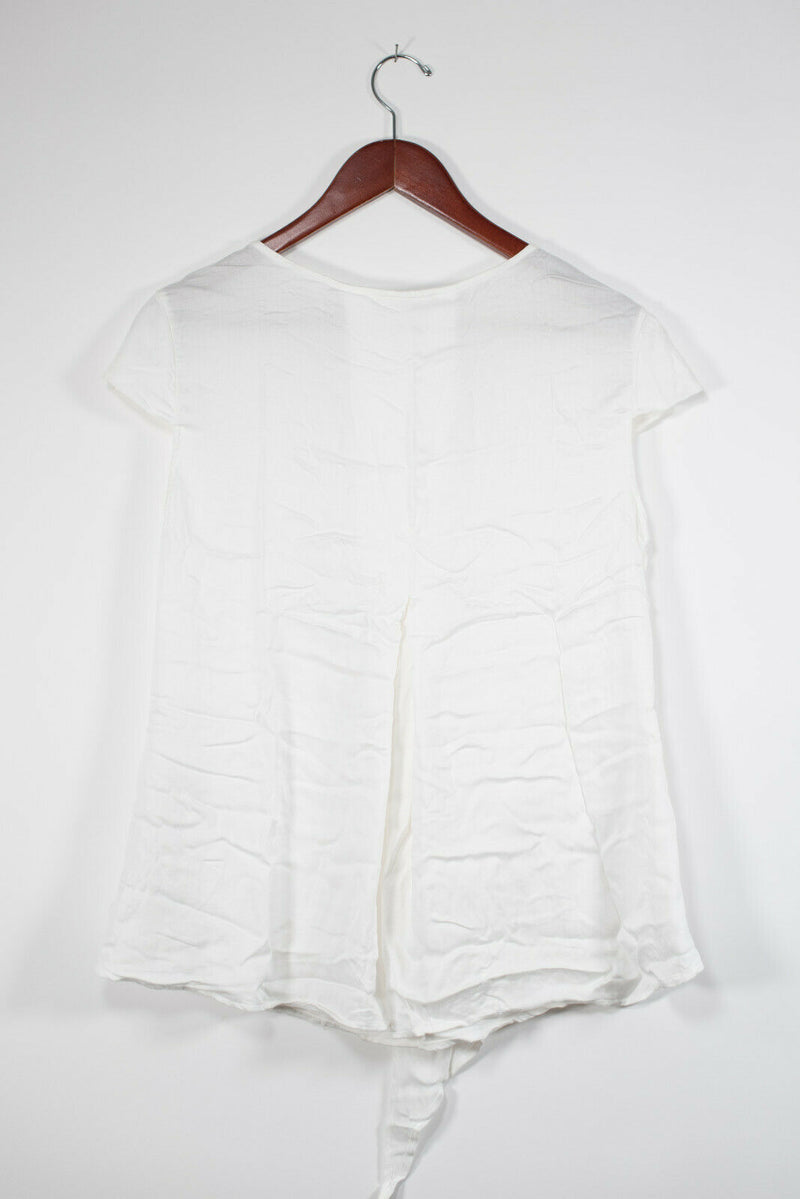 Elisa Cavaletti Womens Size Small White Tee Shirt Cap Sleeve V-Neck Draped Top