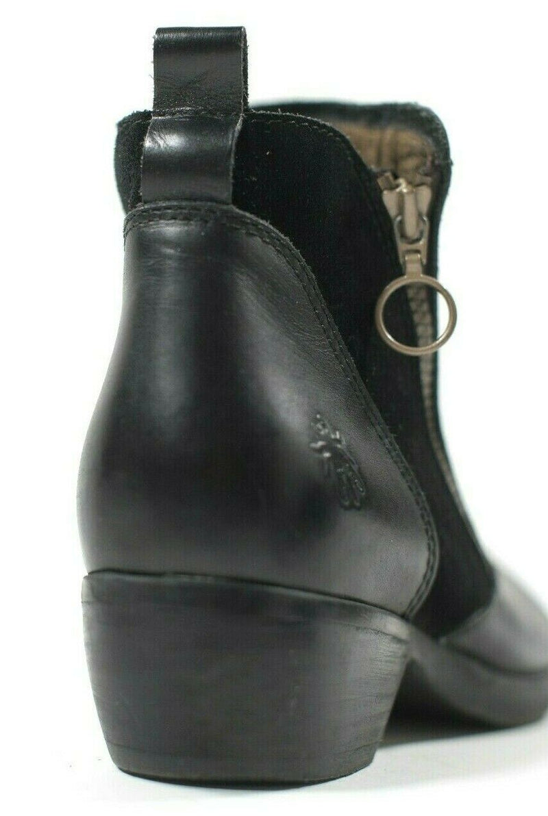 Fly London Size 39 Black Meli Ankle Boots