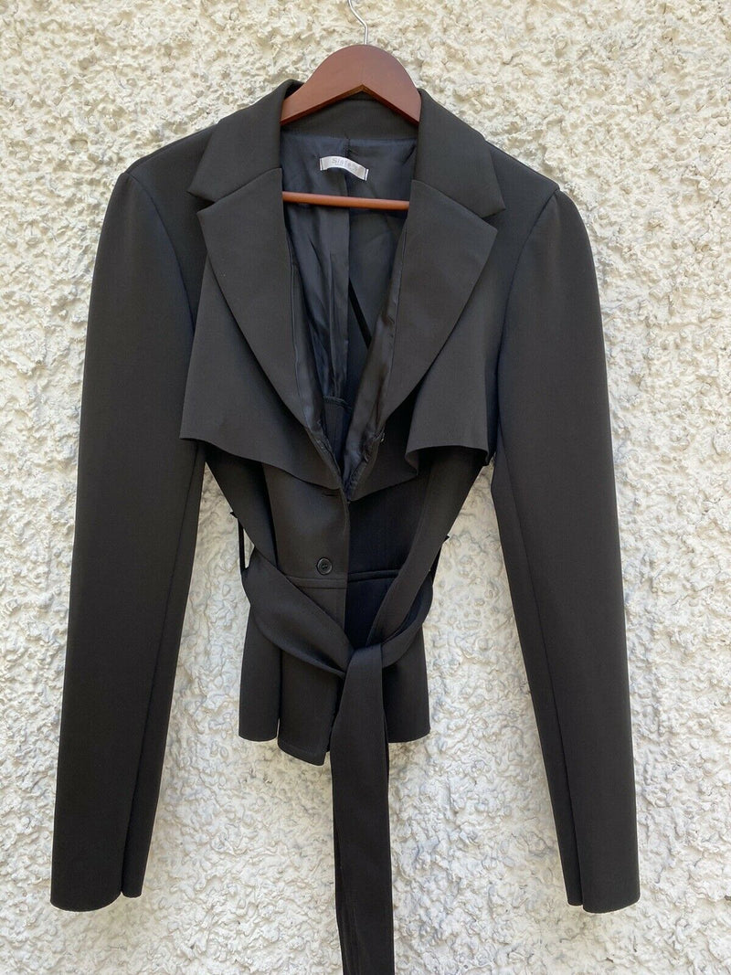 Siste's Womens Size Large Black Belted Jacket Open Front Neoprene Made In Italy