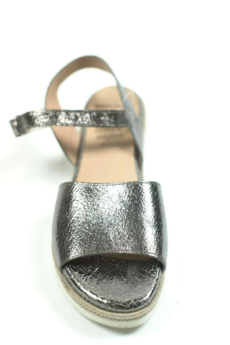 Wonders Womens Size10 Pewter Copper Espadrilles Platform Sandal Metallic Leather