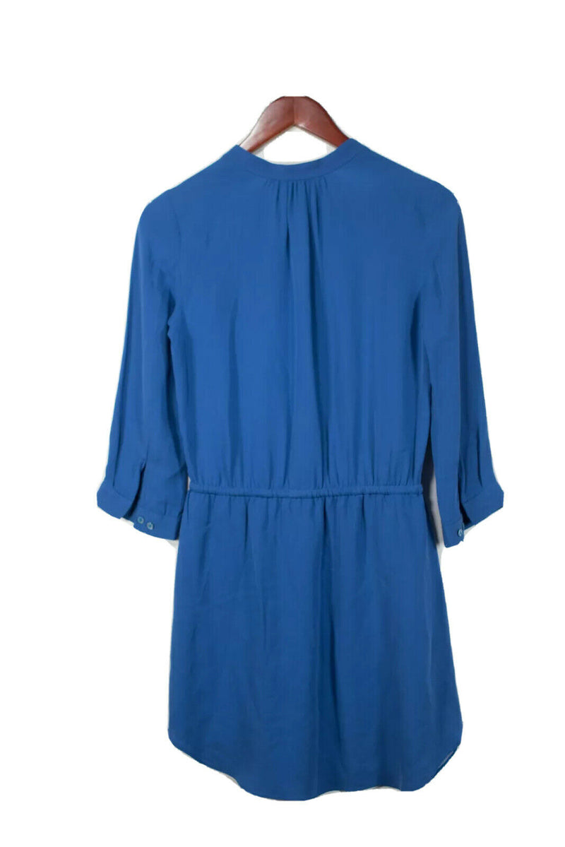 Aritzia T. Babaton Womens XS Blue Bennett Dress Silk Drawstring Waist 3/4 Sleeve
