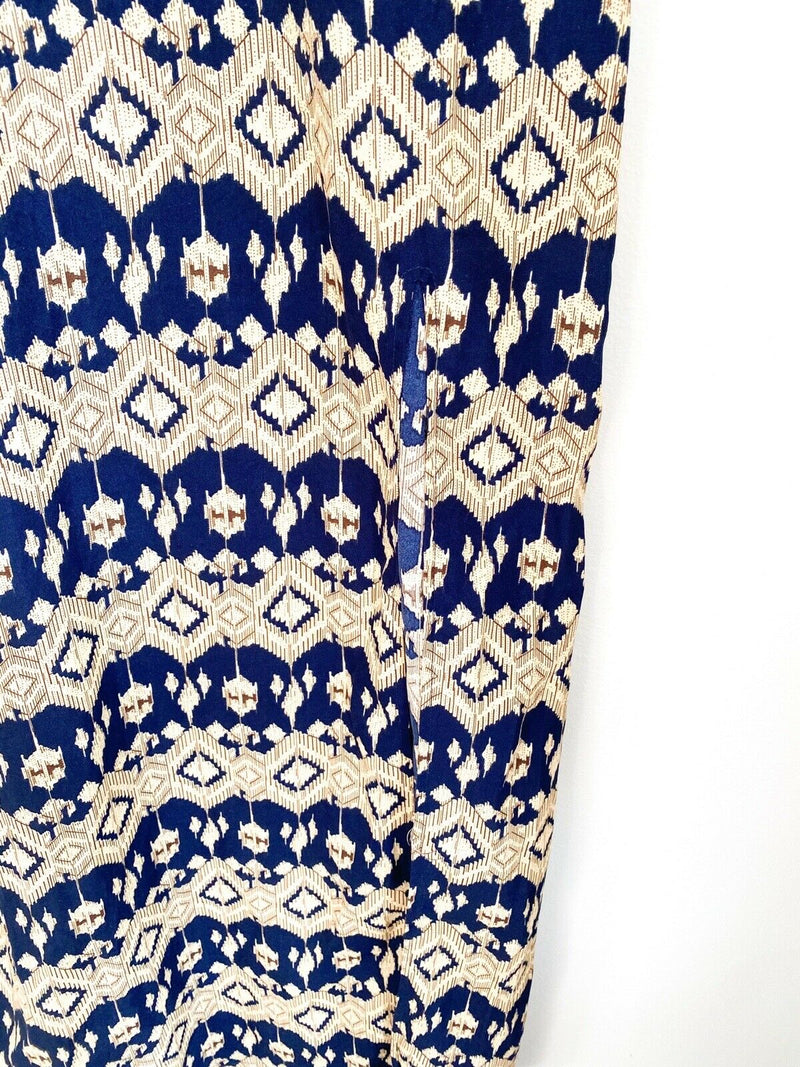 Atmos & Here Women's Size 6 Small Blue Brown Sun Dress Paisley Front Slit Maxi