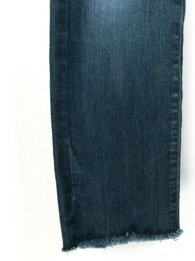 Paige Womens Size 28 Small Blue Denim Skinny Jeans Dark Wash Faded Stretch Fray