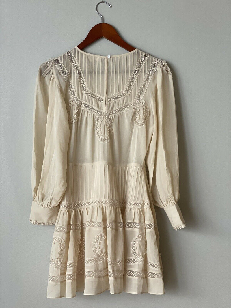 LoveShackFancy Women's Size XS Beige Dress Silk Ruffles Tiered Long Sleeve Mini
