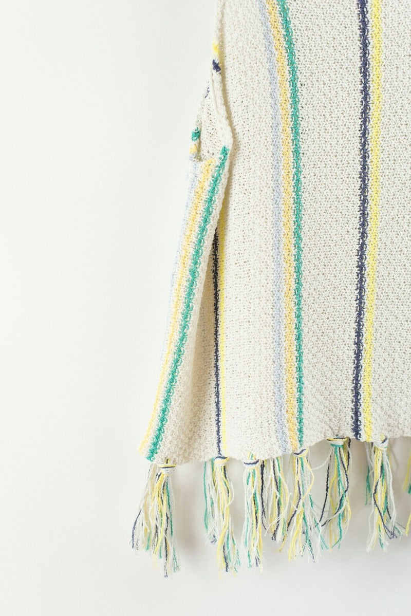 Cupcakes and Cashmere Womens Small Cream Green Blue Tank Top Striped Knit Fringe