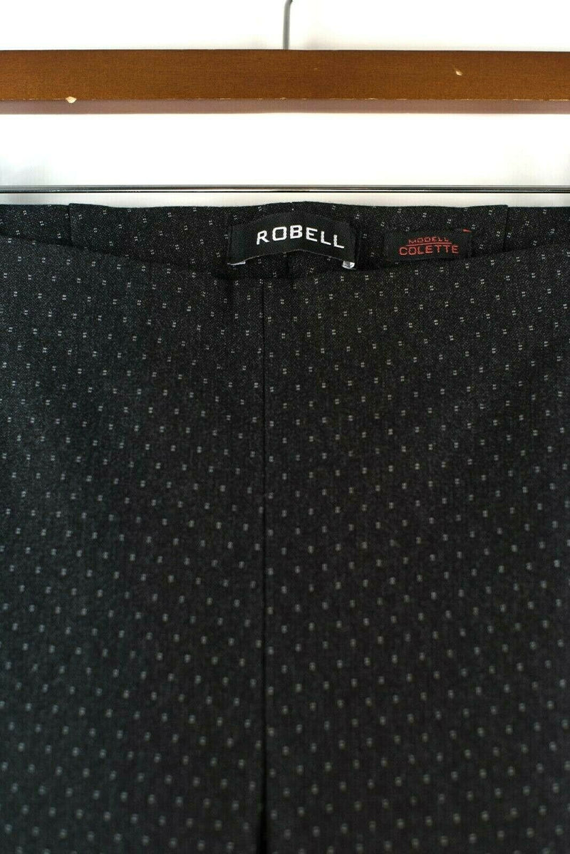 Robell Womens Size 38 Small Black Trousers Colette Printed High Tech Leggings