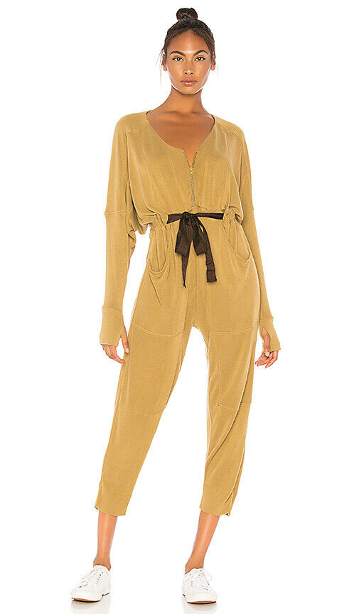Free people Womens Size XS Tan Brown Jumpsuit Army Feelin Good 1pc Romper Pants