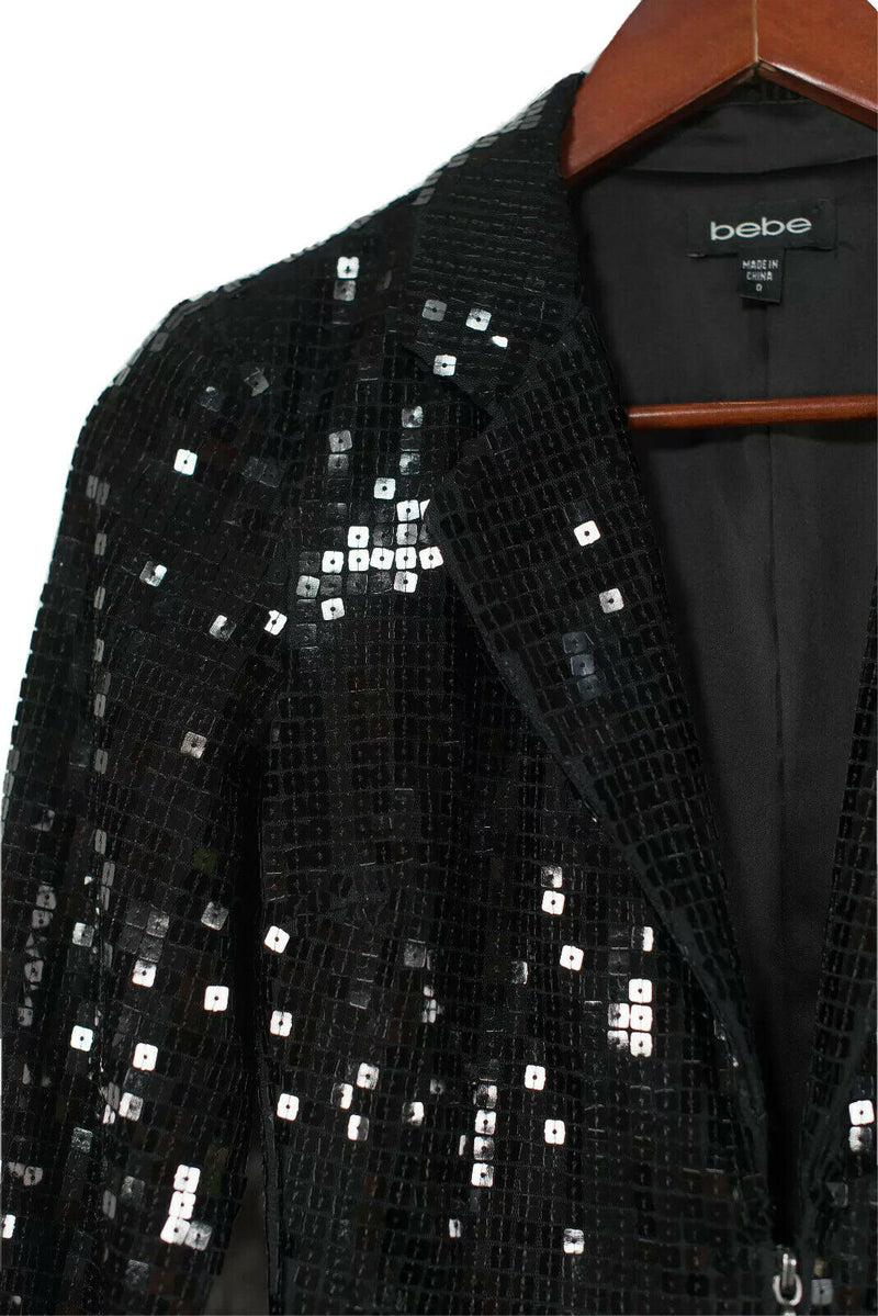Bebe Womens Size 0 Black Blazer Sequin Formal Short Evening Jacket Zipper Front