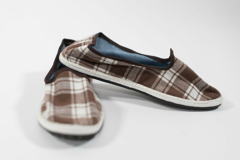 Allagiula Womens Size 8 Brown White Shoes Plaid Flats Casual Fabric Loafers NWOT