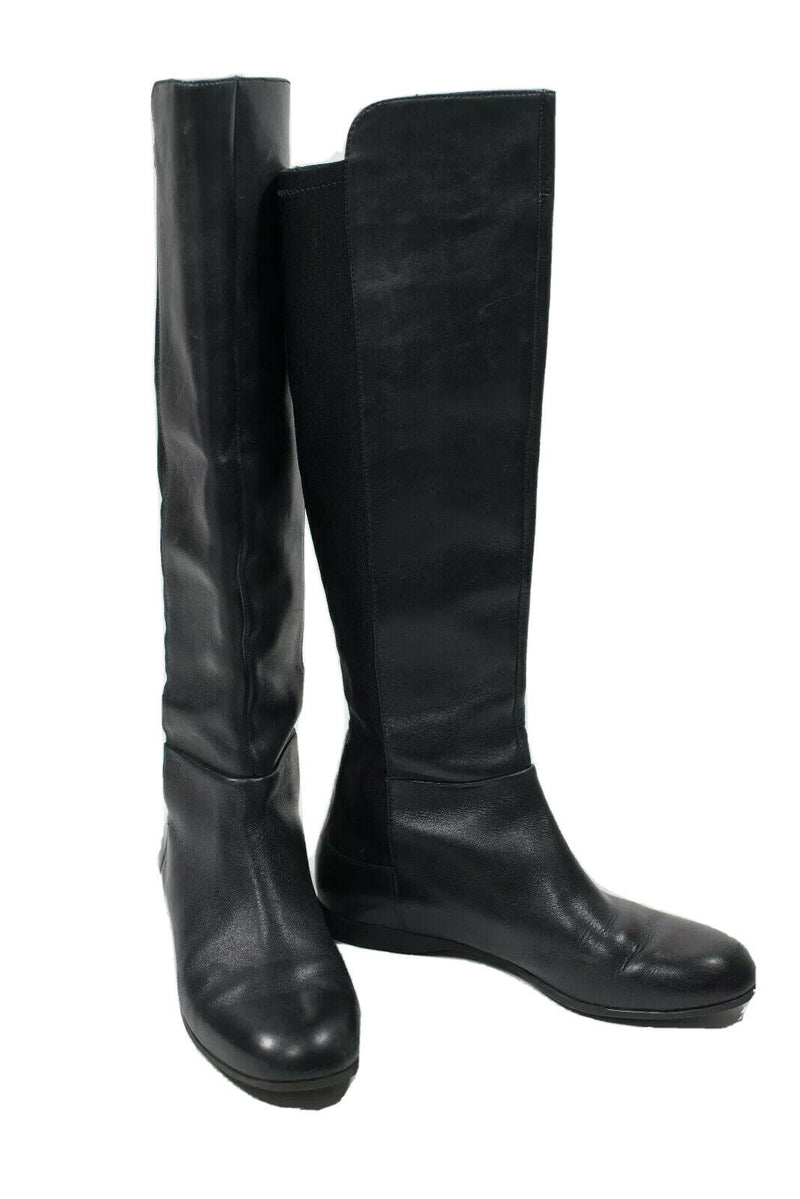 Enzo Angiolini Womens Size 7 Black Riding Boots Leather Front Tall Flat Pull On