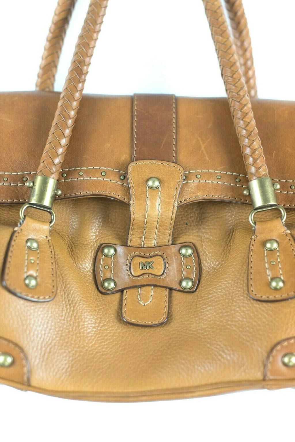 Michael Kors Womens Tan Brown Bag Leather Fold Over Flap Woven Strap Purse Tote