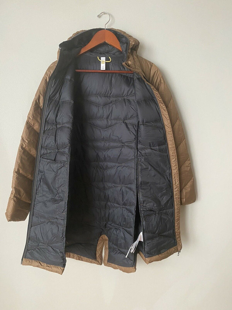 Lole Women's Size Medium Brown Jacket Down Hooded Full Zip Coat Parka Trench