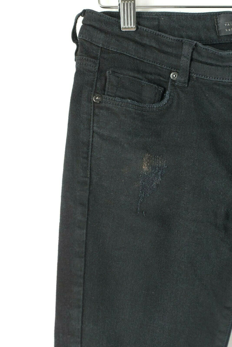 Tailor Made Plenty Womens Size 28 Black Jeans Distressed Mid Rise Skinny Denim