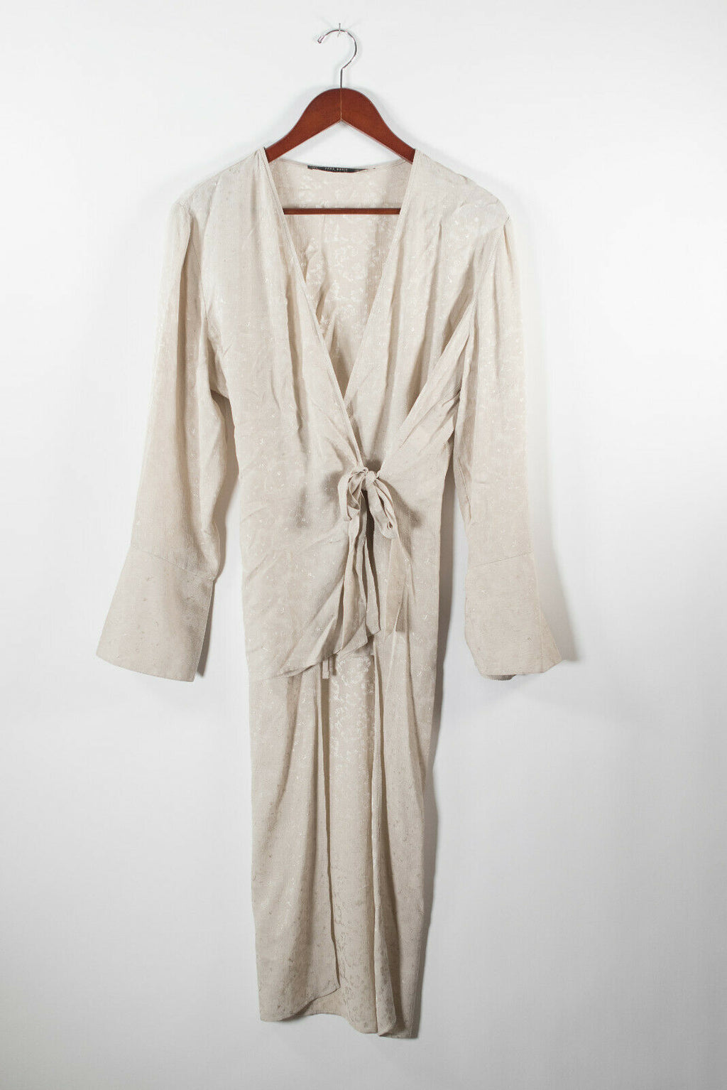 Zara Basic Womens Large Beige Tunic Duster Jacket Floral Hi Low Wrap Tie Coat