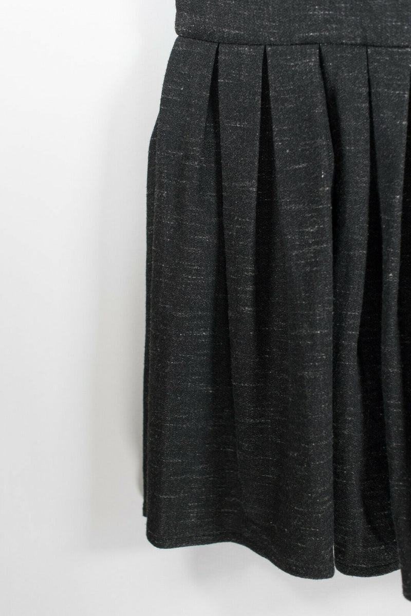 Aritzia Talula Womens Size 0 Charcoal Grey Dress Pleated Drop Waist Pocket Knit