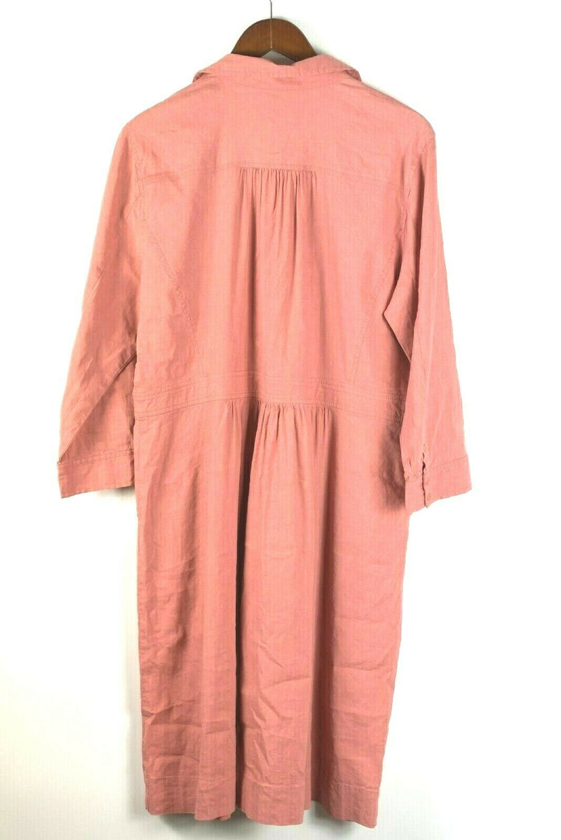 Eileen Fisher Womens Large Coral Pink Linen Dress With Pockets