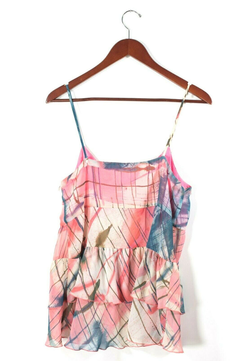 Rachel Rachel Roy Womens Large Pink Multi Color Tank Top Graphic Layered Shirt