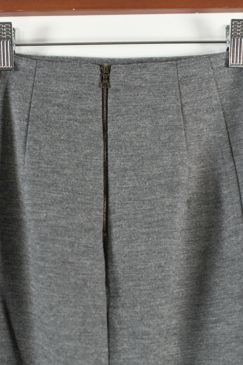 Judith & Charles Womens 0 XS Grey Pencil Skirt Wool High Waisted Slit Short Mini