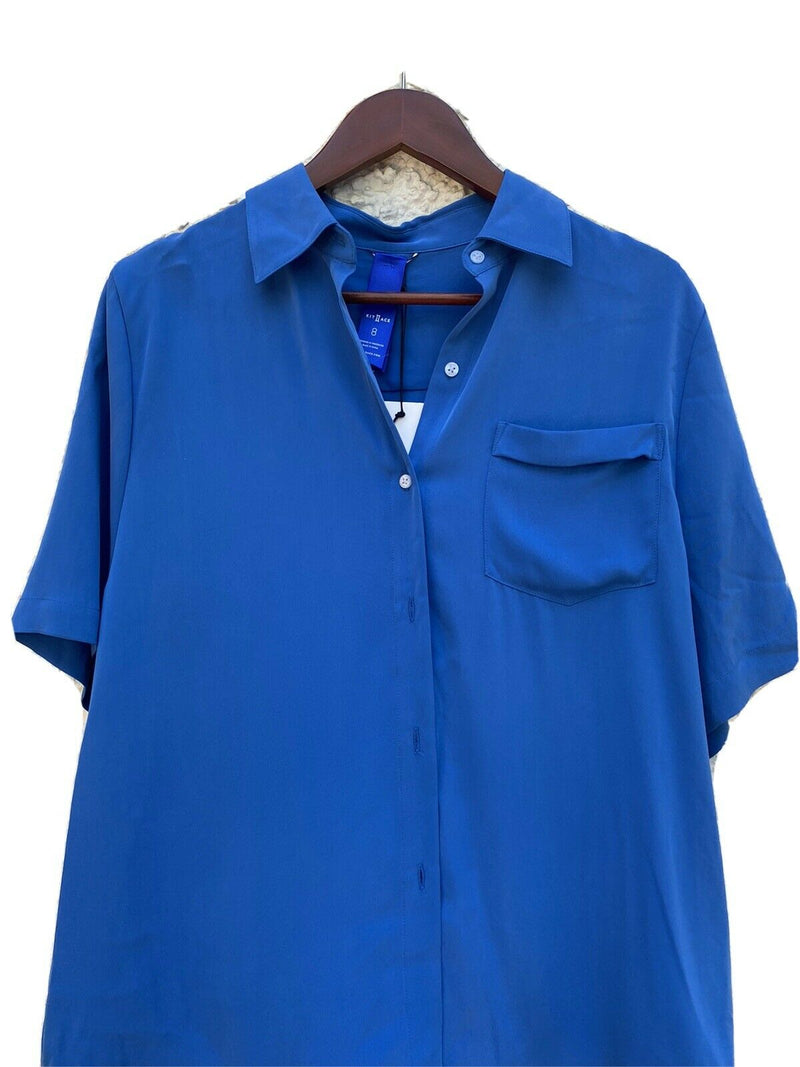 Kit And Ace Womens Size 8 Blue Blouse Short Sleeve Front Pocket Shirt Top NWT