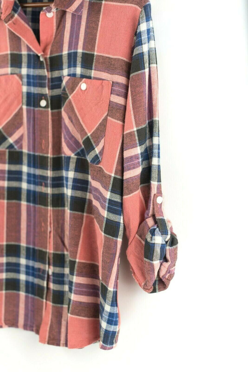 Sanctuary Womens Small Pink Blue Blouse Plaid Long Sleeve Plaid Button Down NWT