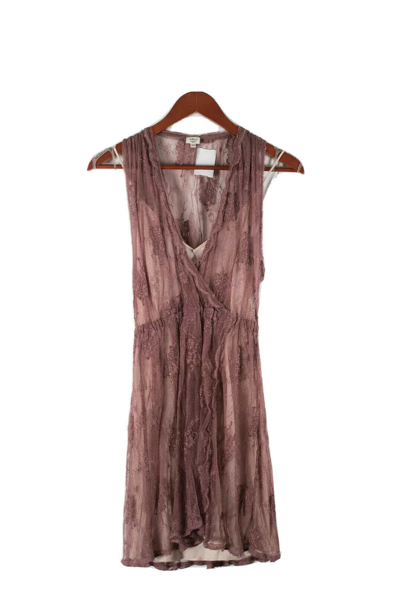 Aritzia Wilfred Womens XXS Brown Beige Dress Nude Slip Sheer Floral Lace Mini