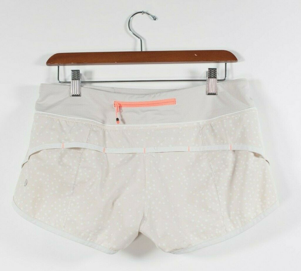 Lululemon Womens Size 6 Beige White Shorts Peit Dot Dune Speed  Shorts Polka Dot