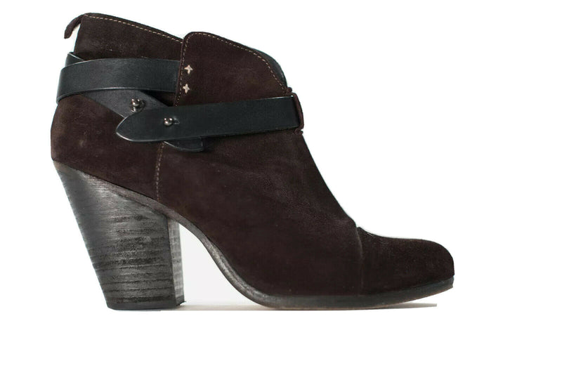 Rag & Bone Womens 10 Brown Harrow Boots Leather Suede Ankle Strap Block Heel