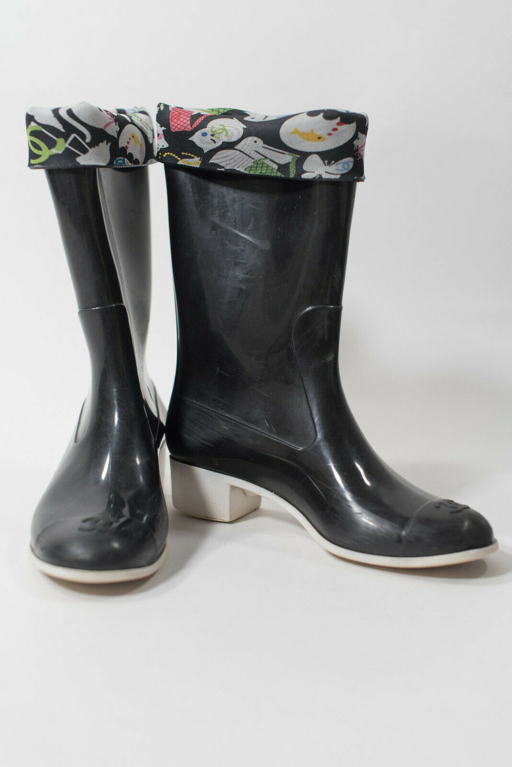 Chanel Womens Size 39 Black Rain Boots Rubber Flower Baby Animal Limited Edition