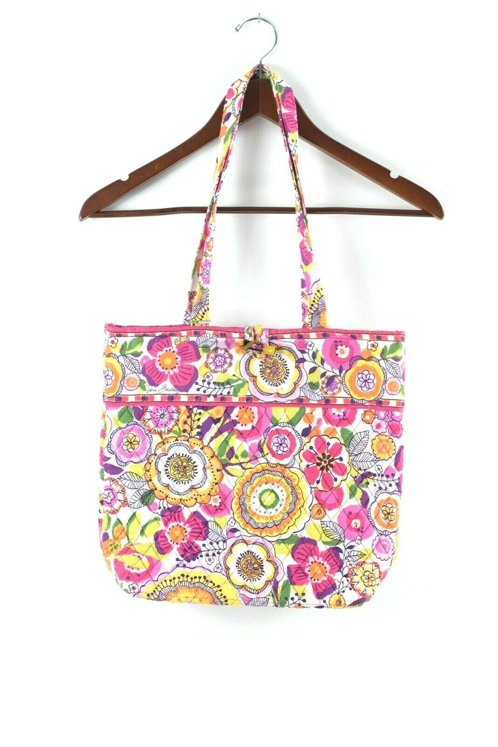 Vera Bradley Womens Pink Purse Retro Floral Graphic Quilted Cotton Tote Bag NWT