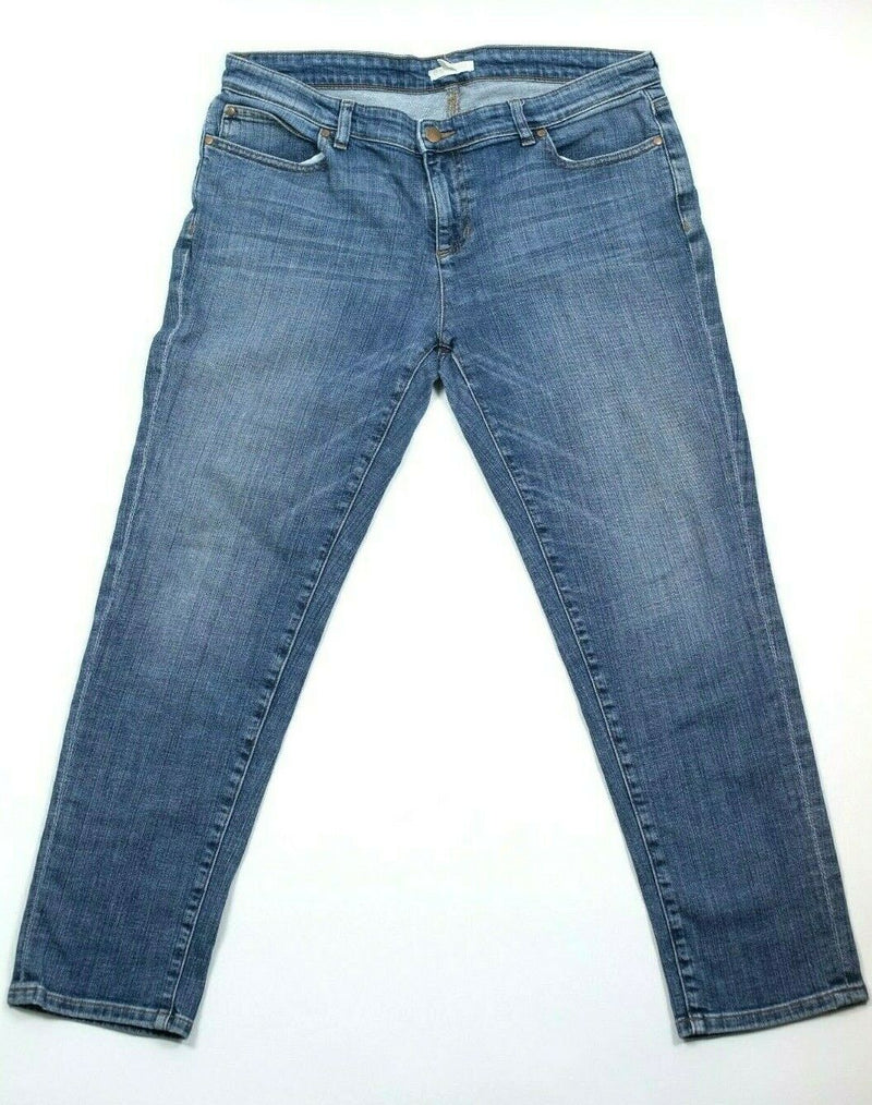 Eileen Fisher Womens Size 12 Petite Blue Jeans Stretch Solid Cotton Slim Skinny