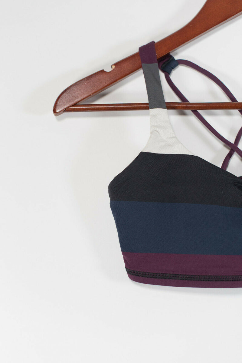 Lululemon Womens Small 4/6 Black Burgundy Navy Blue Sports Bra Cropped Yoga Top