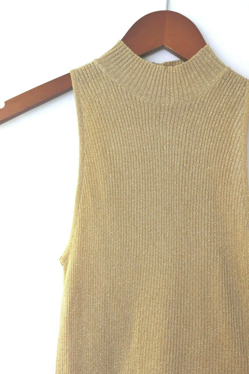 Blumarine Womens Size 40 Small Gold Tank Top Sweater Bttn Mock Neck Knit Ribbed