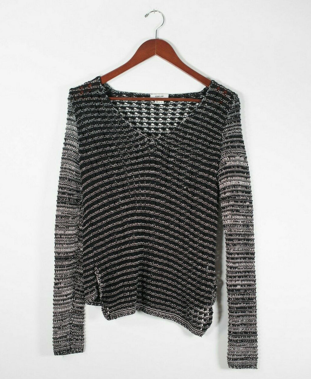 Helmut Lang Womens Small Black White Pullover Sweater Open Knit V Neck Top Shirt