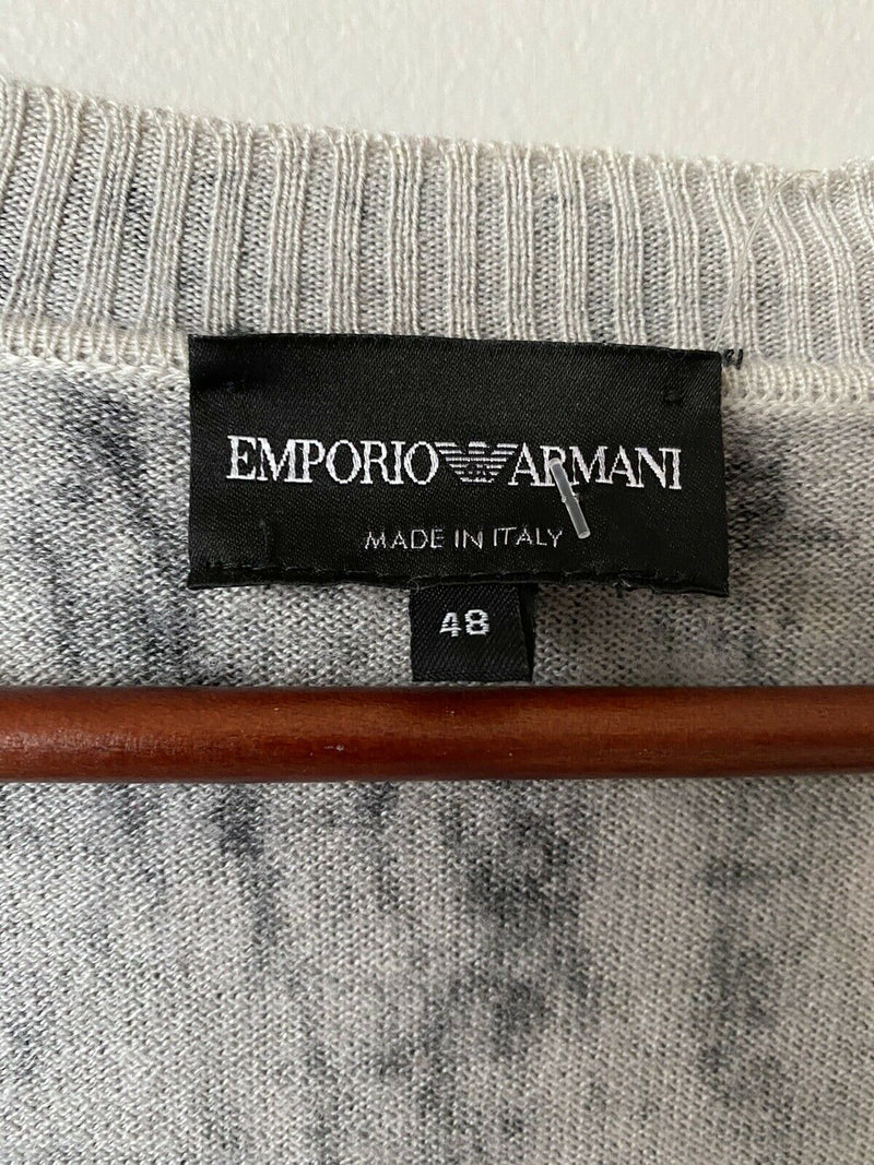Emporio Armani Women's Size 48 Large Gray Cardigan Sweater Button Front Knit Top