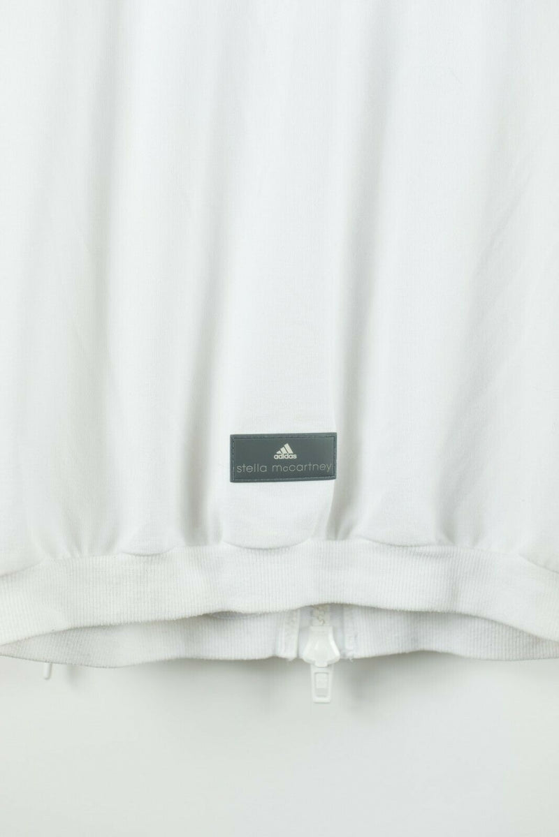 Adidas Stella McCartney Womens Size Small White Jacket Bomber Cotton Zipper Top