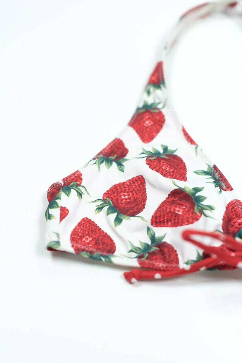 Silver Swim Womens Small White Red Bikini Top Strawberry Retro Swimsuit Halter