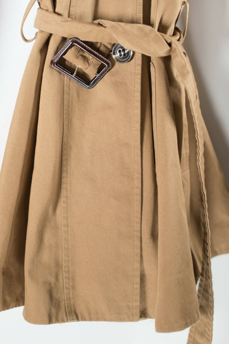 Topshop Womens Size 4 Small Tan Beige Trench Coat Short Double Breasted Jacket