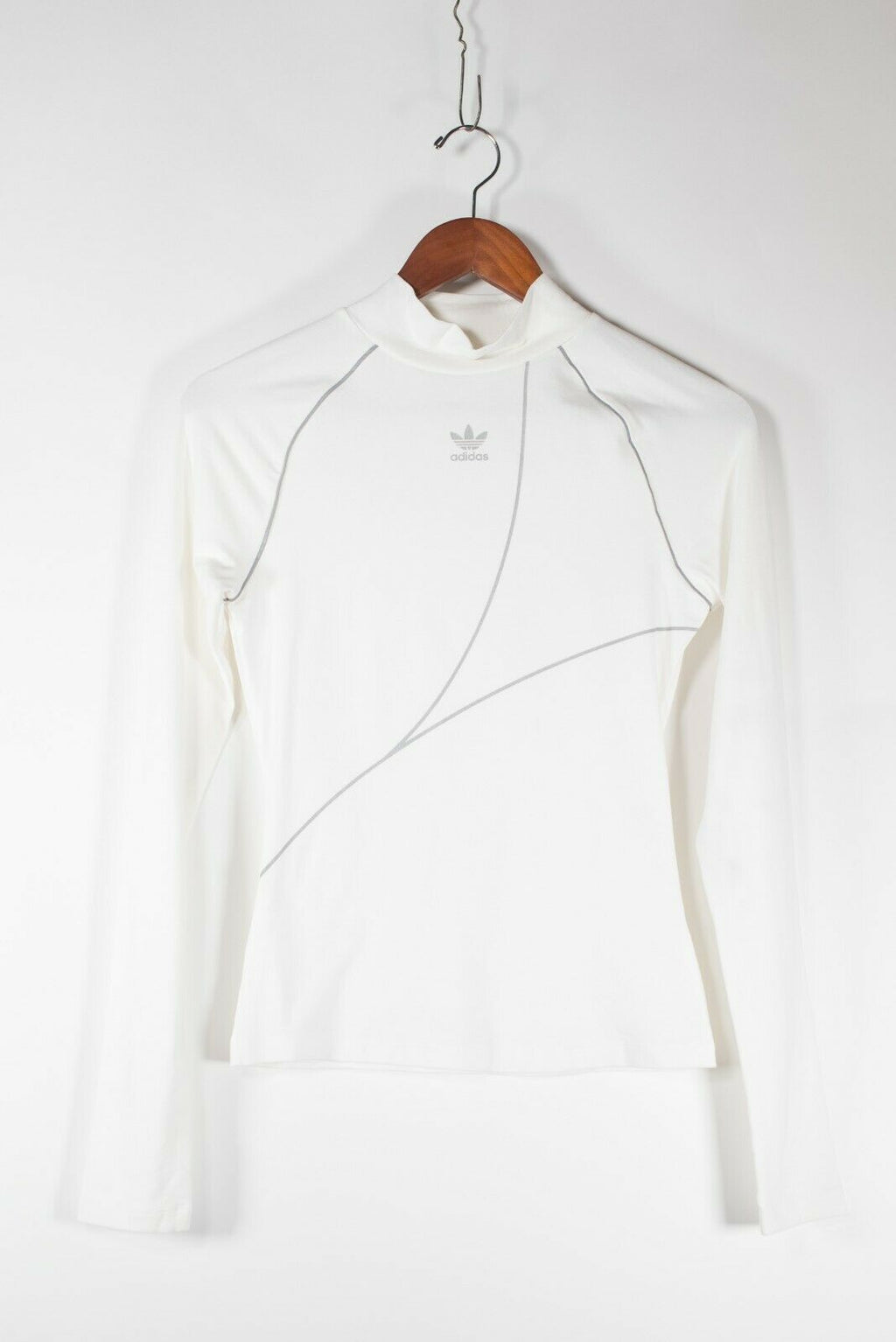 Adidas Originals Womens Size XS White Mock Neck Shirt Long Sleeve Nylon Logo Top