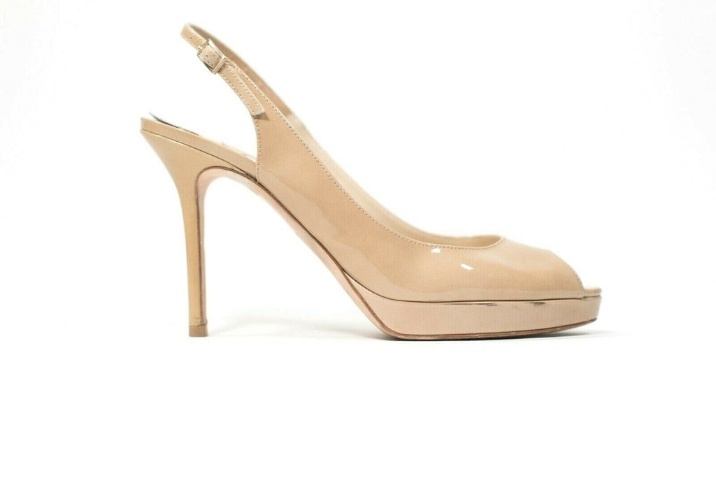 Jimmy Choo London Womens Size 37.5 US 7 Nude Slingbacks Patent Open Toe Pumps